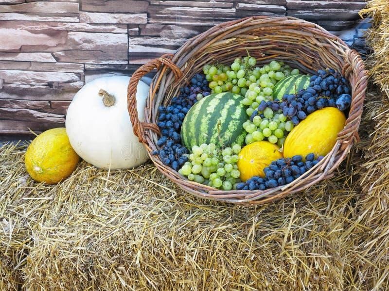 Canestro di frutta con il melone, uva dell'anguria, su paglia fotografia stock libera da diritti