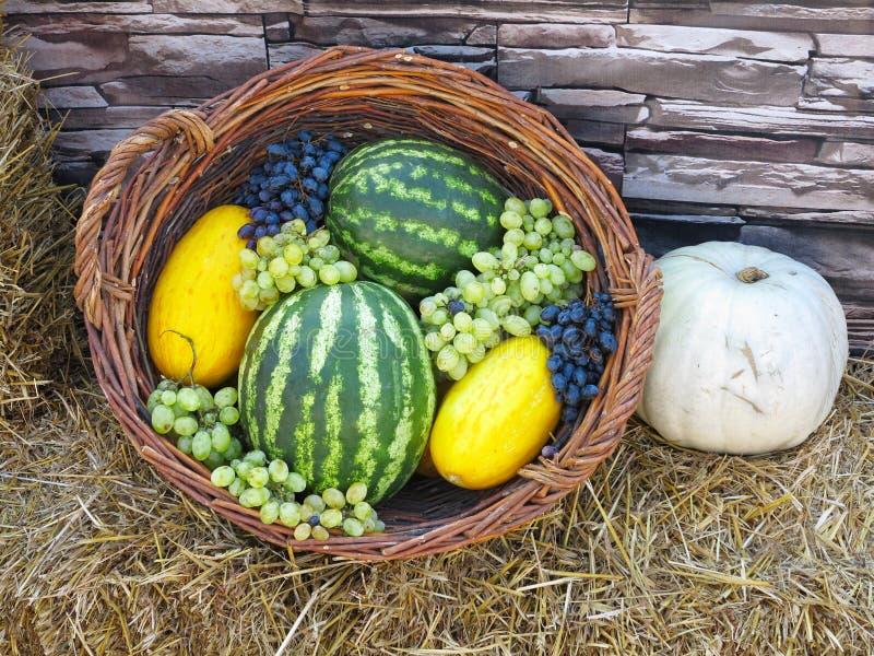 Canestro di frutta con il melone, uva dell'anguria, su paglia fotografie stock libere da diritti