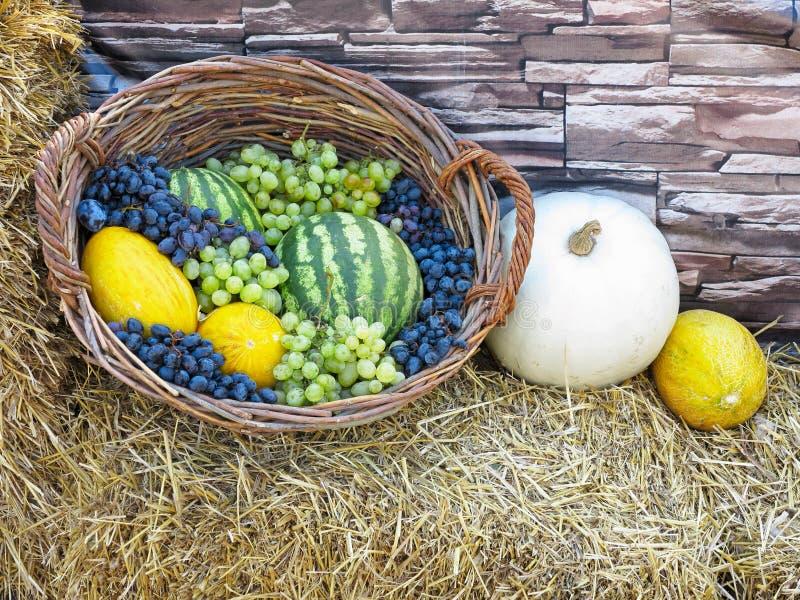 Canestro di frutta con il melone, uva dell'anguria, su paglia fotografia stock
