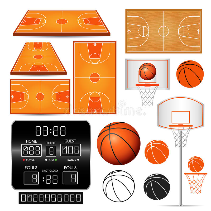 Canestro di pallacanestro, cerchio, palla, tabellone segnapunti con i numeri, campi su fondo bianco illustrazione vettoriale