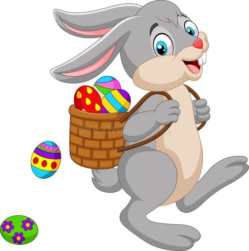 Canestro di trasporto del coniglietto di pasqua del fumetto di un uovo di Pasqua illustrazione vettoriale