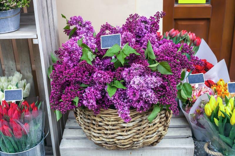Canestro di vimini con il mazzo dei lillà e dei tulipani porpora nel negozio di fiori fotografie stock