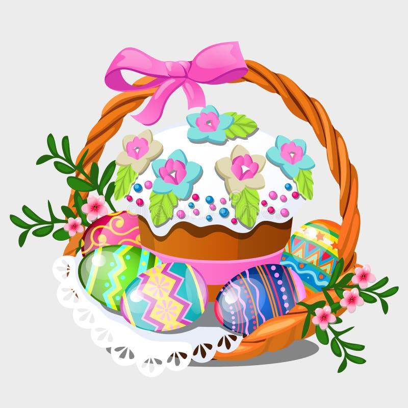 Canestro di vimini con l'insieme delle uova orientali variopinte, dei fiori e del dolce di Pasqua isolato su fondo bianco Fumetto illustrazione di stock