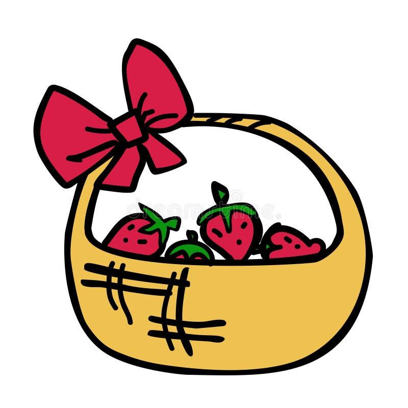 Canestro di vimini del fumetto delle fragole Illustrazione di vettore illustrazione di stock