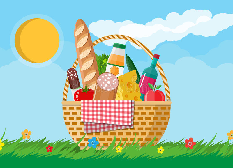 Canestro di vimini di picnic in pieno dei prodotti illustrazione vettoriale