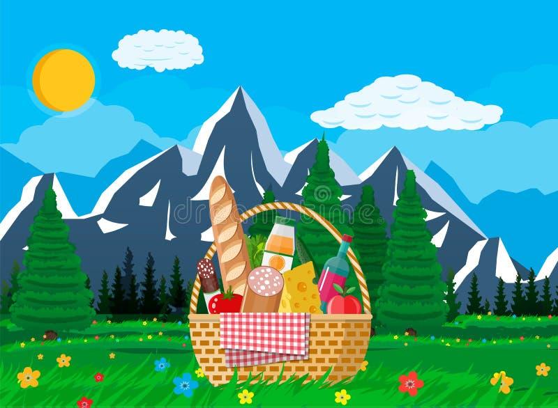 Canestro di vimini di picnic in pieno dei prodotti e della natura illustrazione vettoriale