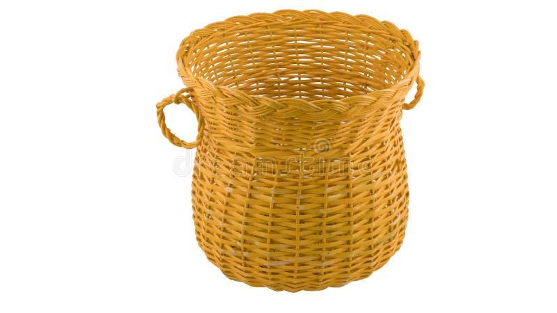 Canestro di vimini handcrafted tradizionale giallo immagine stock libera da diritti