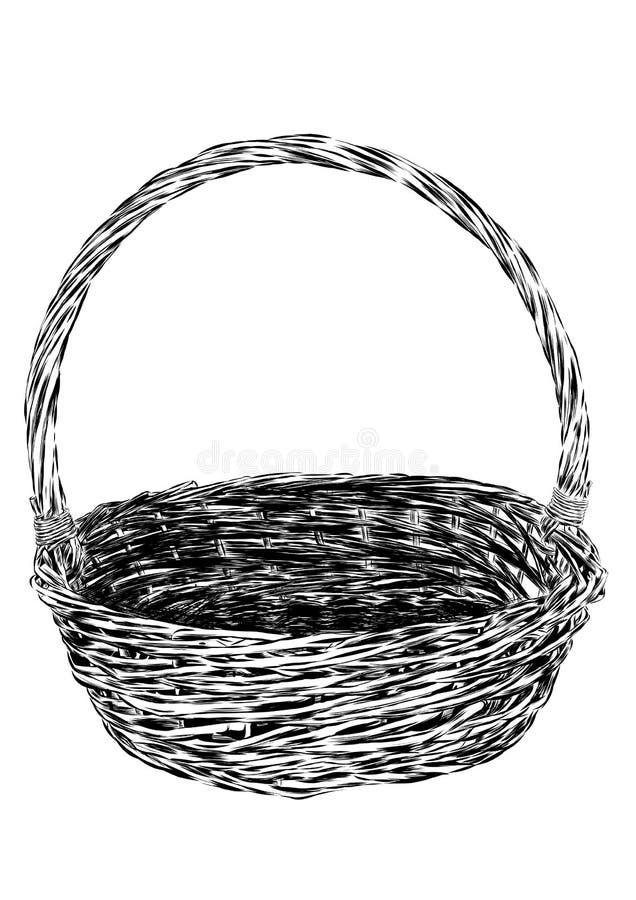 Canestro disegnato a mano di picnic isolato su fondo bianco Illustrazione di schizzo del canestro di bambù vuoto Vettore illustrazione di stock