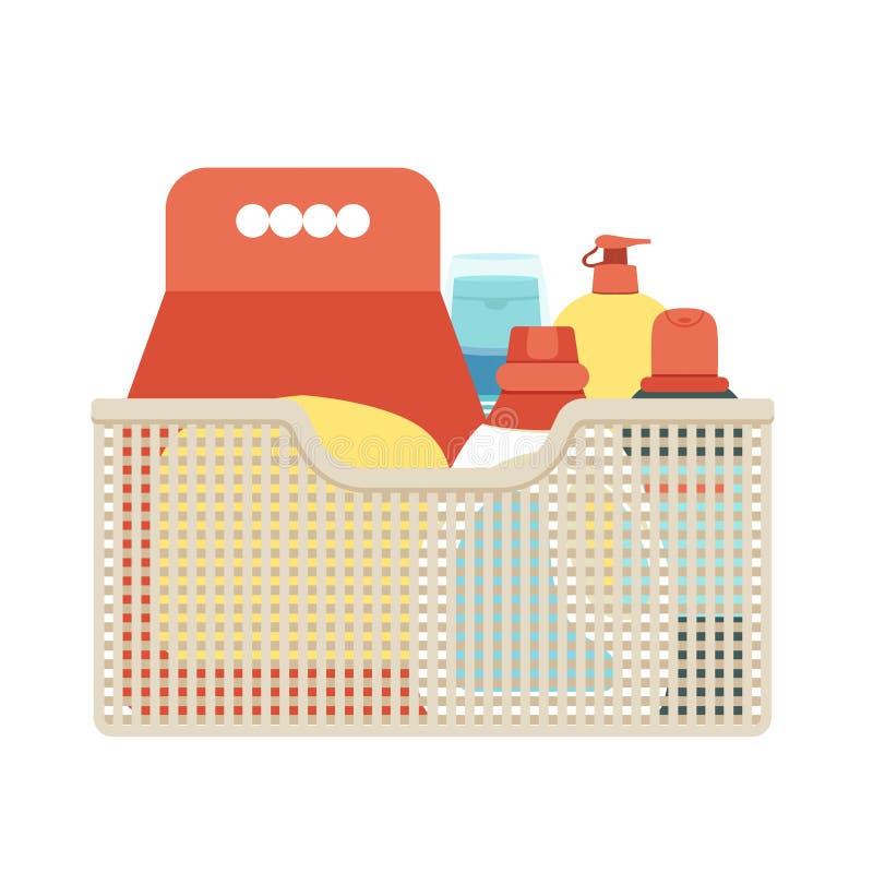 Canestro per la pulizia con i detersivi ed i disinfettanti Di vettore illustrazione editabile facilmente su un fondo bianco illustrazione vettoriale
