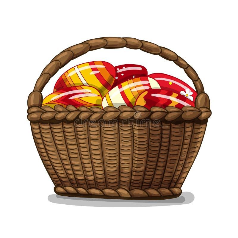 Canestro in pieno delle uova di Pasqua illustrazione di stock