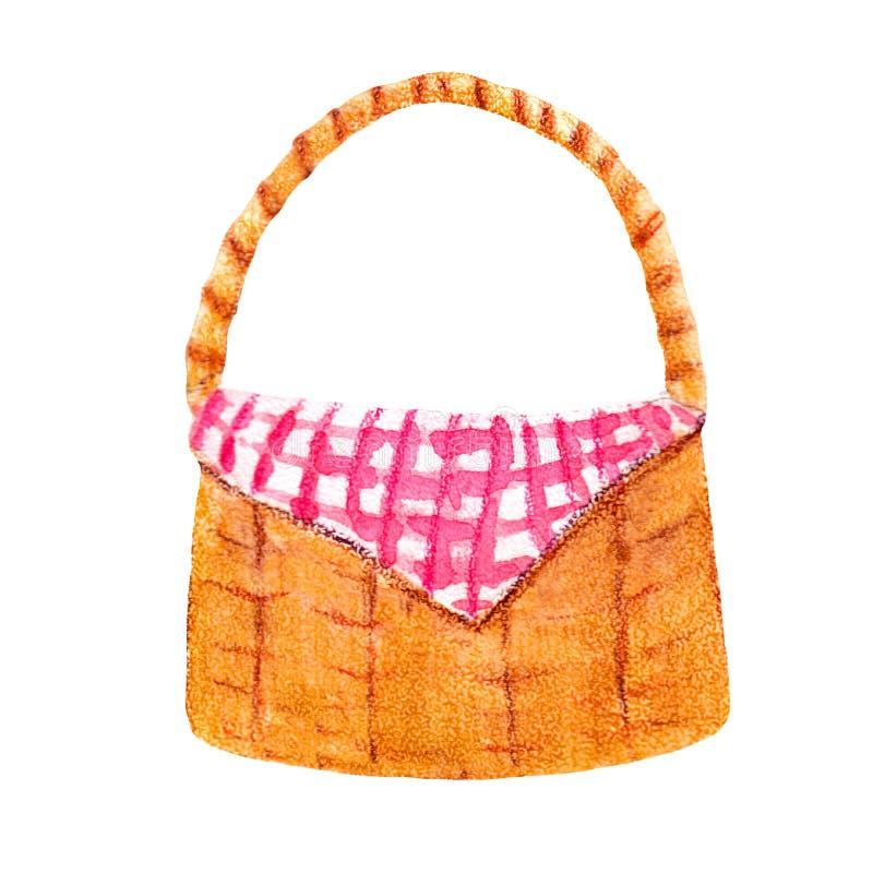 Canestro variopinto del pane dell'illustrazione dell'acquerello illustrazione vettoriale