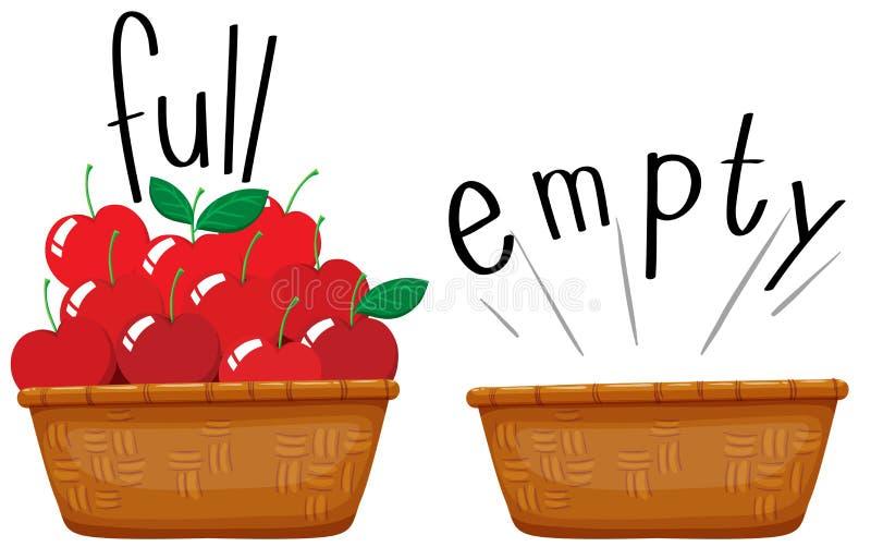 Canestro vuoto e canestro in pieno delle mele royalty illustrazione gratis
