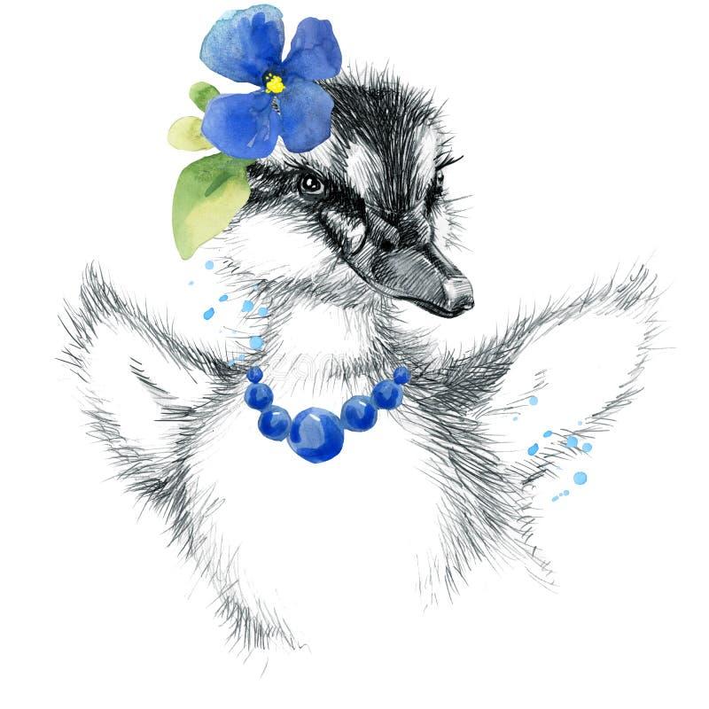 Caneton mignon illustration de croquis de crayon de caneton Copie de T-shirt avec le caneton mignon illustration de vecteur