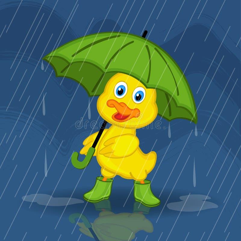 caneton se cachant de la pluie sous le parapluie illustration libre de droits