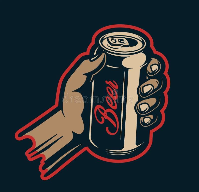 Canette de bière masculine de participation de main illustration libre de droits