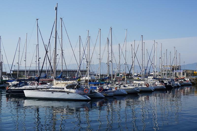 CANGAS DE MORRAZO, SPAIN - 18 JUNE 2017: Ships in the marina of Cangas de Morrazo in Pontevedra, Galicia, Spain. royalty free stock images