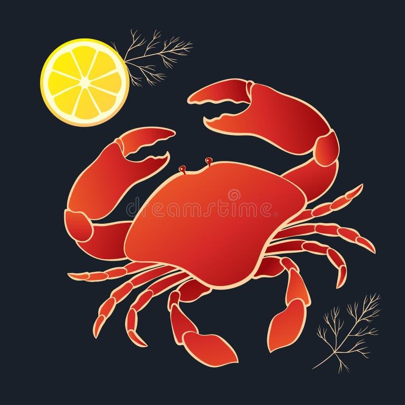 Cangrejo con el limón y el eneldo stock de ilustración