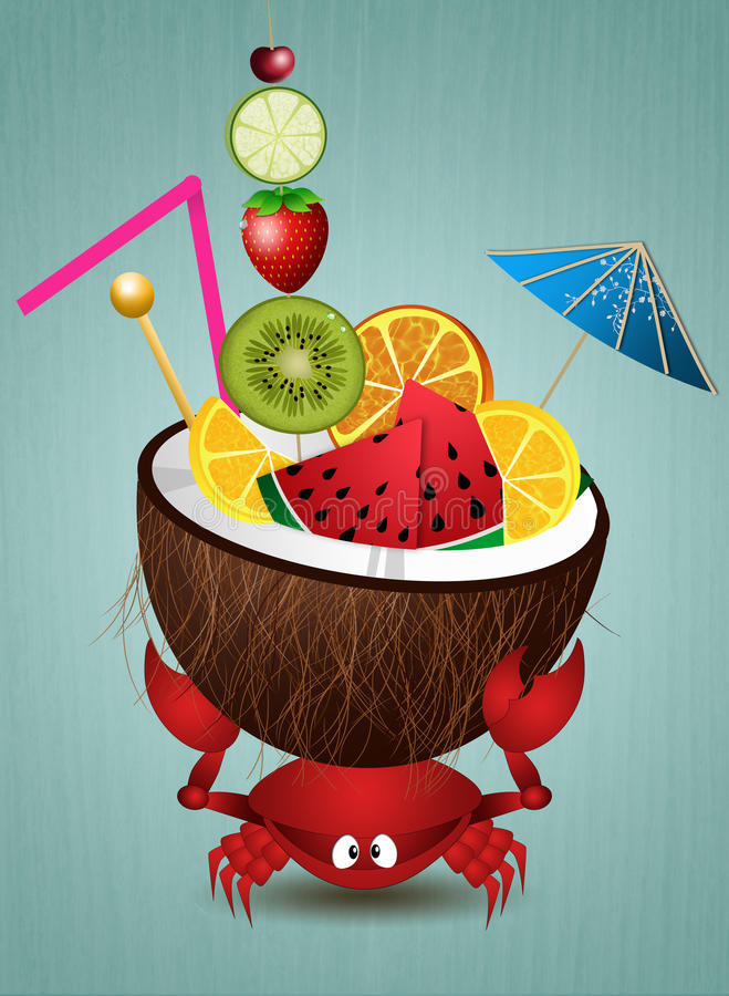 Cangrejo divertido con el coco stock de ilustración