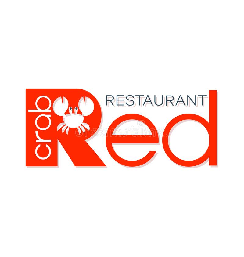 Cangrejo rojo emblema Mariscos stock de ilustración