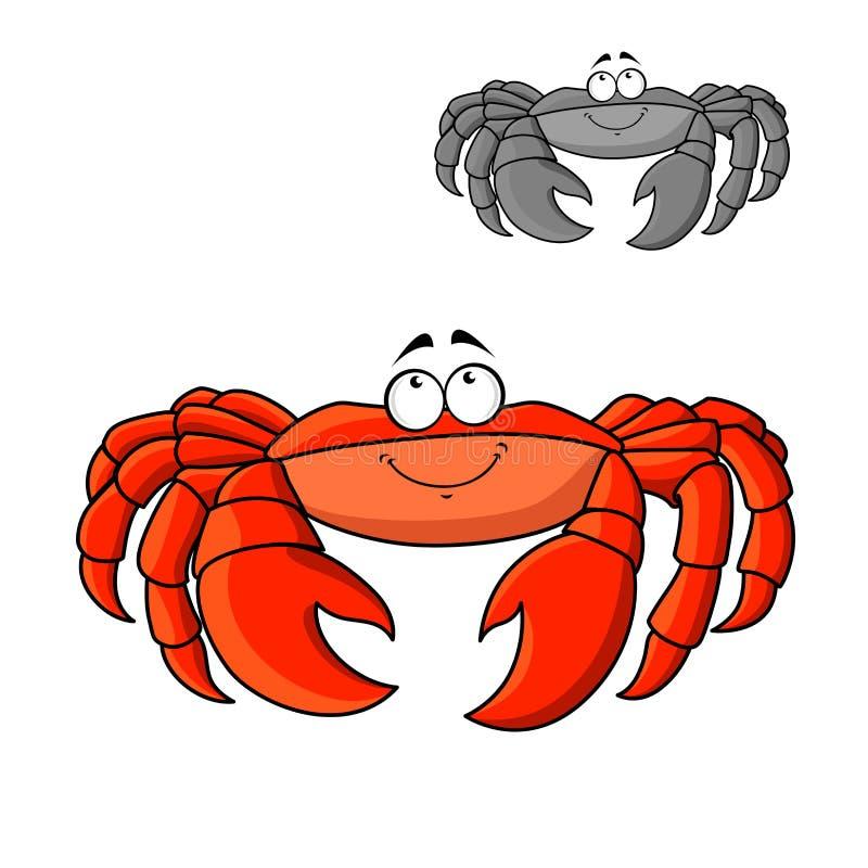 Cangrejo rojo sonriente de la historieta con las garras grandes stock de ilustración