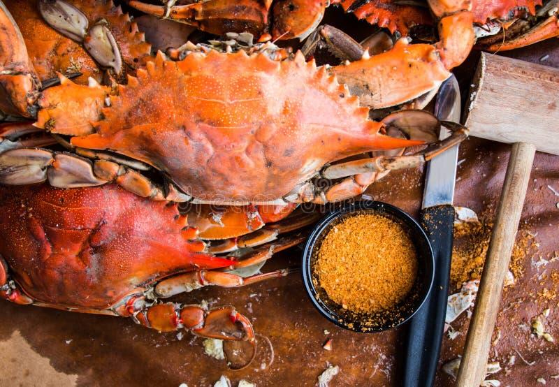 Cangrejos azules de Maryland Cangrejos cocidos al vapor Fest del cangrejo fotos de archivo libres de regalías