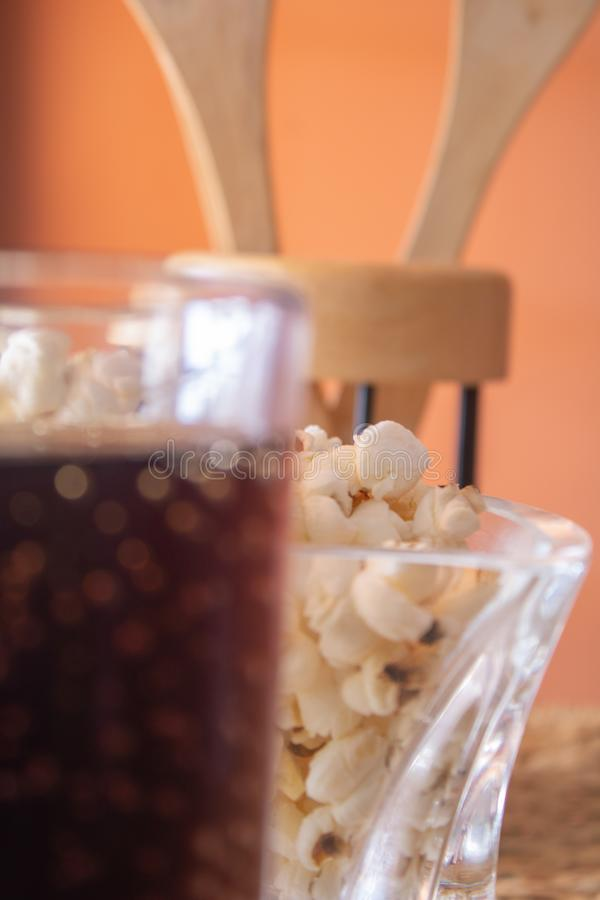 Pop corn with soda royalty free stock photography