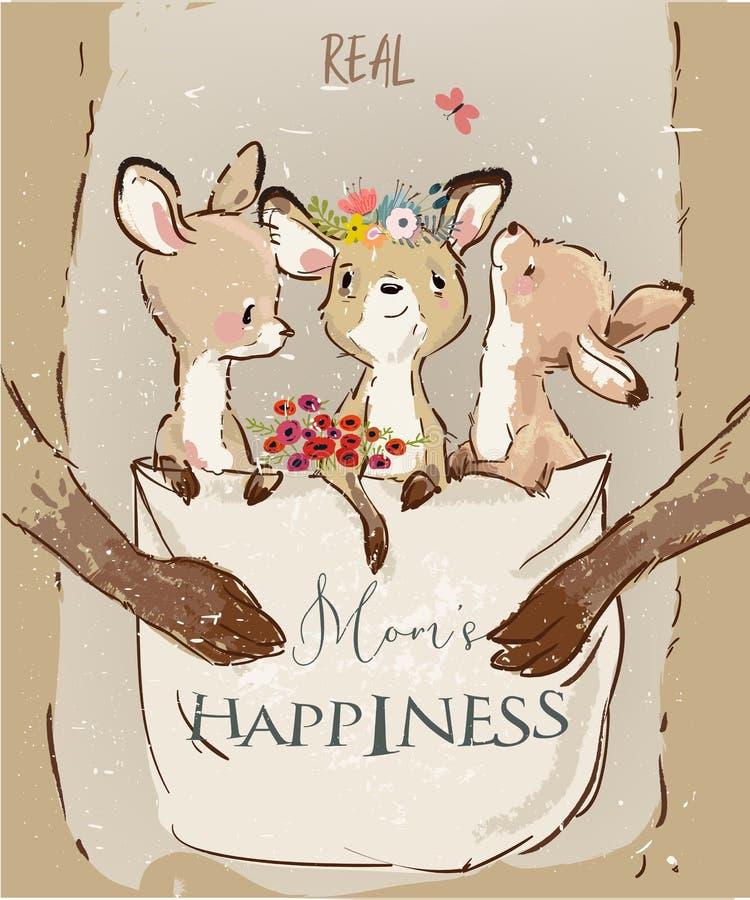 Canguro de la mamá con los niños en su saco libre illustration