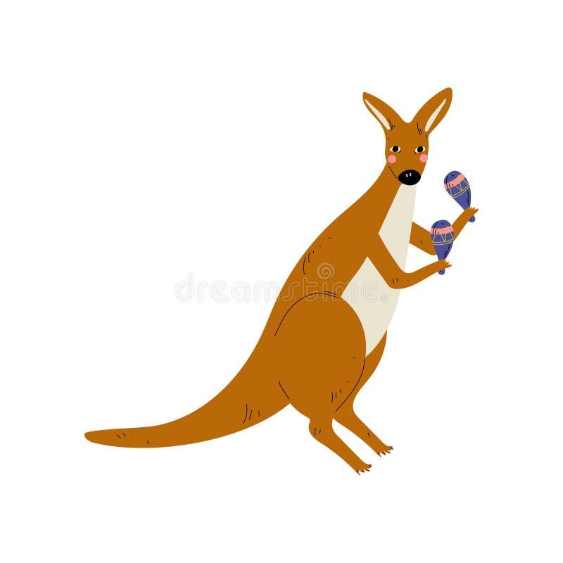 Canguro que juega Maracas, ejemplo animal del vector del instrumento de Character Playing Musical del músico de la historieta lin stock de ilustración