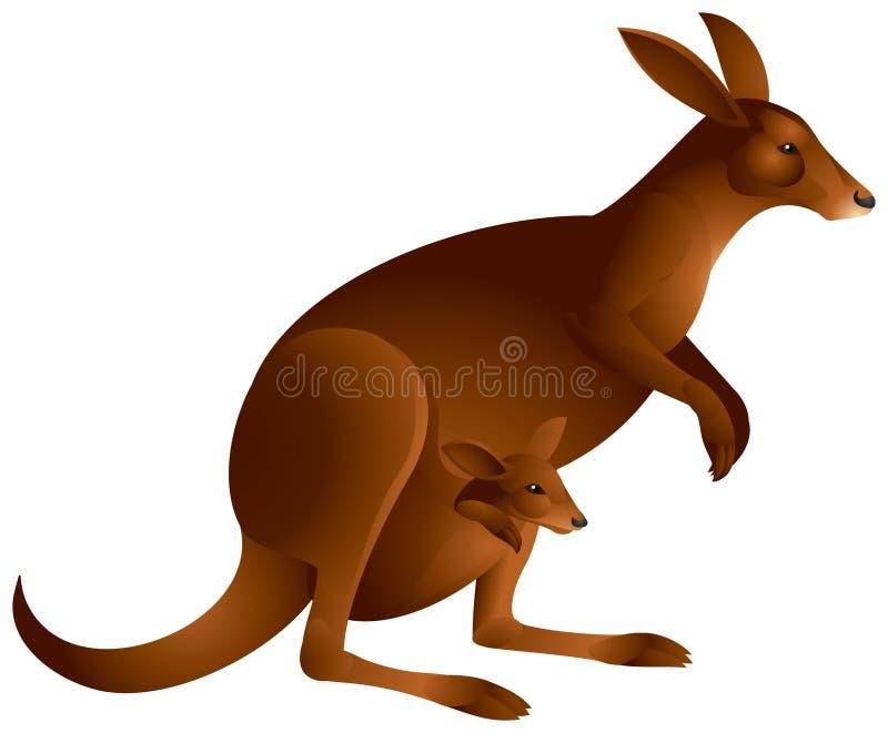 Canguru com o bebê dentro   ilustração royalty free