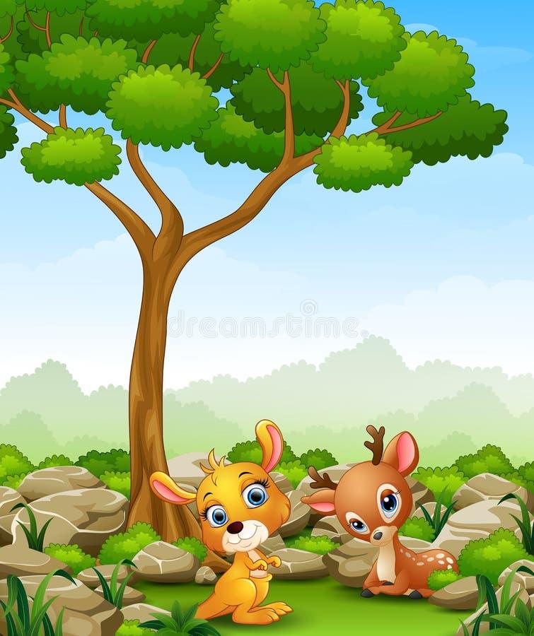 Canguru do bebê dos desenhos animados com os cervos do bebê na selva ilustração royalty free