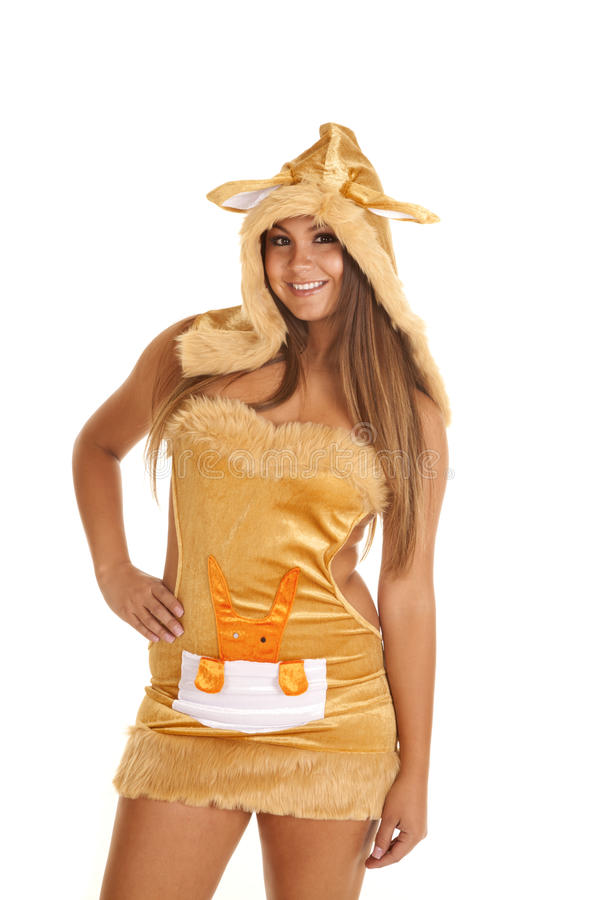 Canguru do traje da mulher fotos de stock