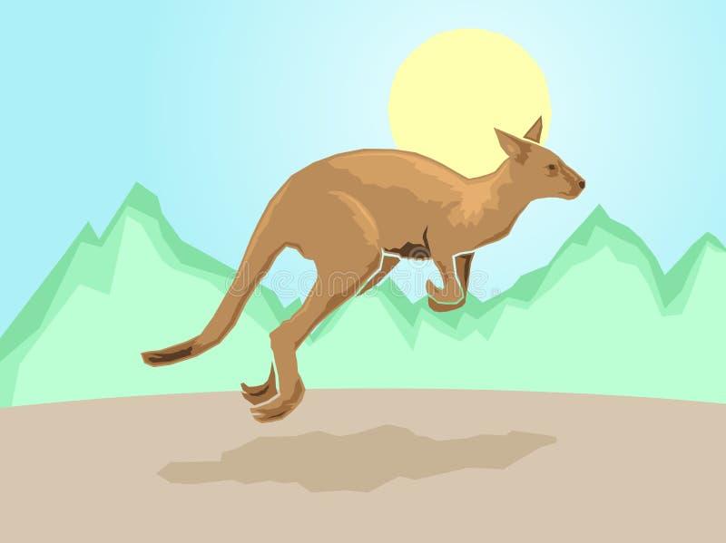 Canguru em um fundo estilizado da montanha ilustração do vetor