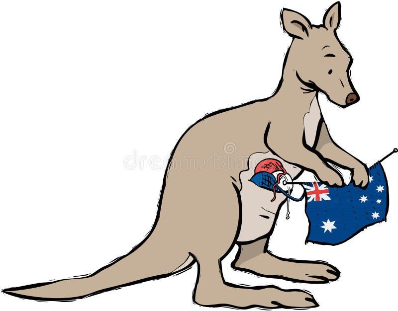 Canguru que faz malha Austrália ilustração do vetor