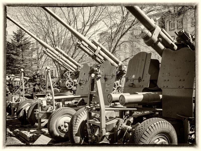 canhão da época da segunda guerra mundial imagem de stock