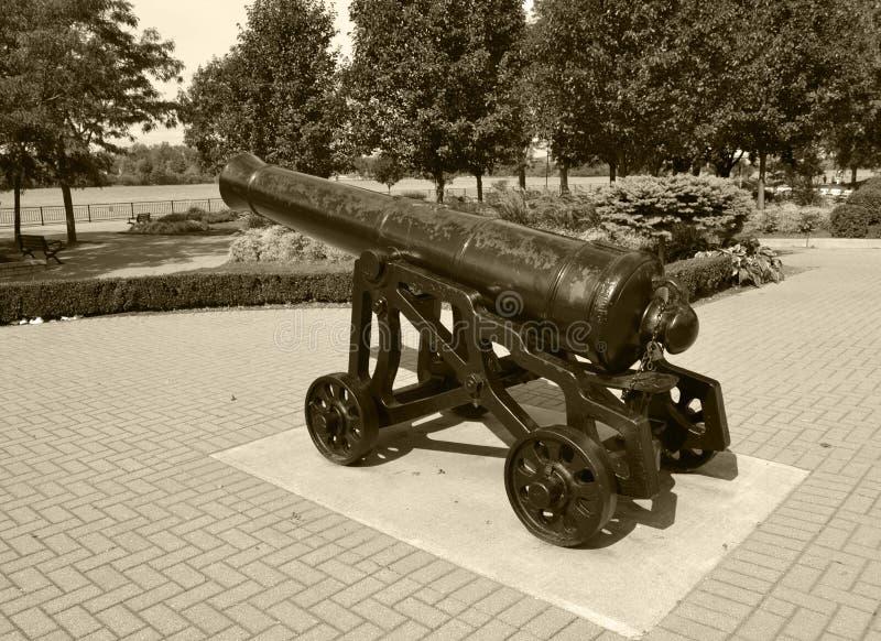 Canhão da guerra civil preto e branco imagem de stock