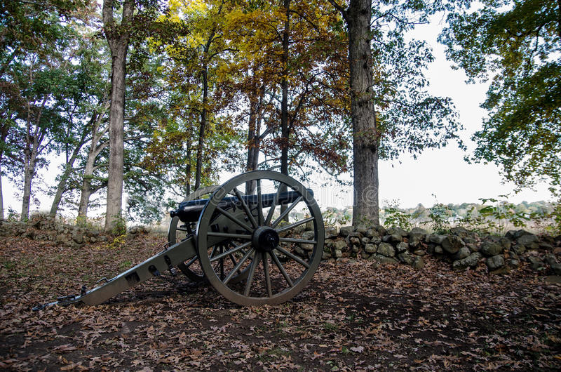 Canhão histórico da guerra civil de Gettysburg imagem de stock