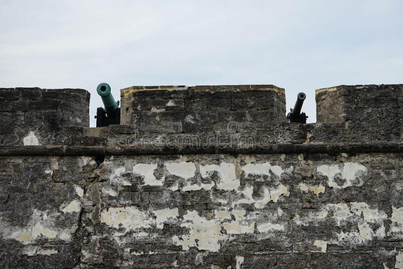 Canhão no forte Castillo de San Marcos fotografia de stock royalty free