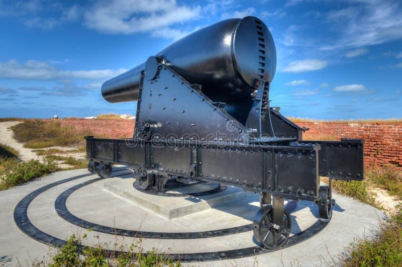 Canhão no forte Jefferson, Florida imagem de stock