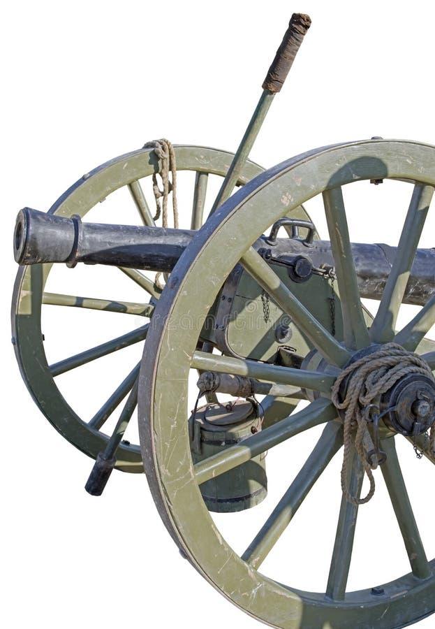 Canhão rodado antigo do ferro fundido isolado no branco fotografia de stock