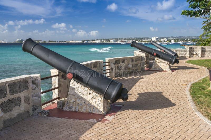 Canhões Bridgetown Barbados imagens de stock royalty free