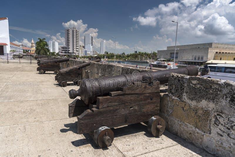 Canhões e ameias Baluarte de San Ignacio Cartagena imagens de stock royalty free