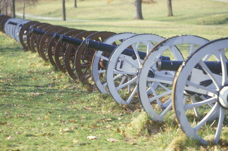 Canhões no parque nacional no nascer do sol, forja da guerra revolucionária do vale, PA fotografia de stock