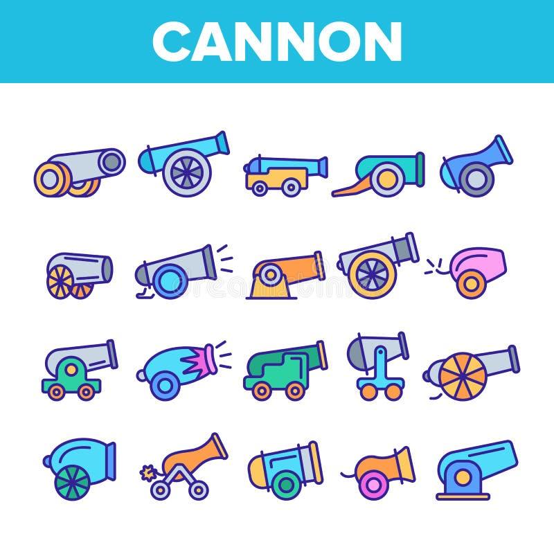 Canhões velhos, grupo linear do vetor dos ícones da artilharia ilustração stock