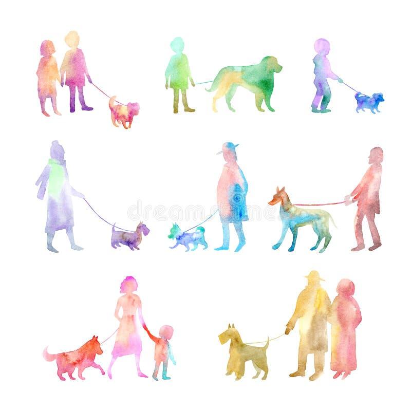 Cani ambulanti della gente Bambino, uomo, siluetta della donna illustrazione di stock