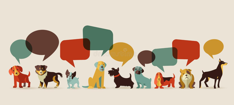 Cani che parlano - icone ed illustrazioni illustrazione di stock