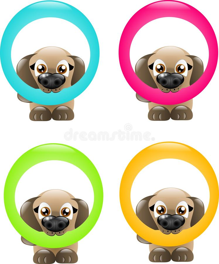 Cani con il cerchio illustrazione di stock