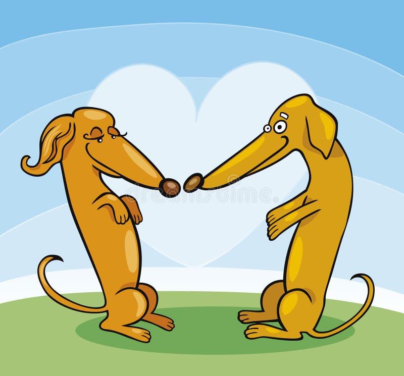 Cani del Dachshund nell'amore royalty illustrazione gratis