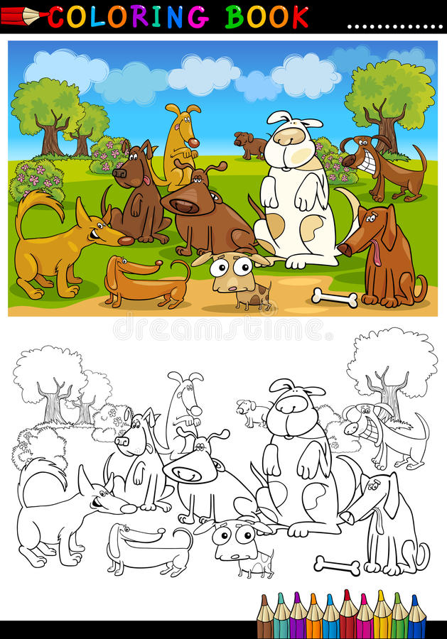 Cani del fumetto per il libro o la pagina di coloritura illustrazione di stock