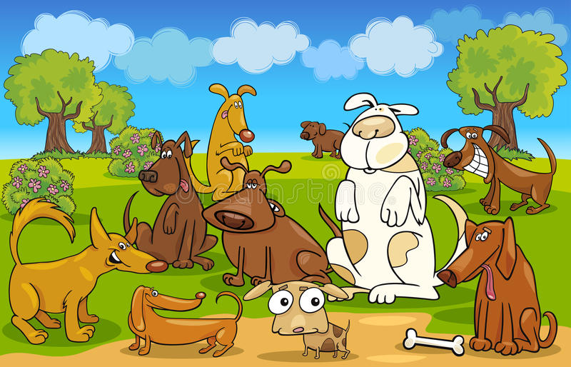 Cani del fumetto sul prato illustrazione vettoriale