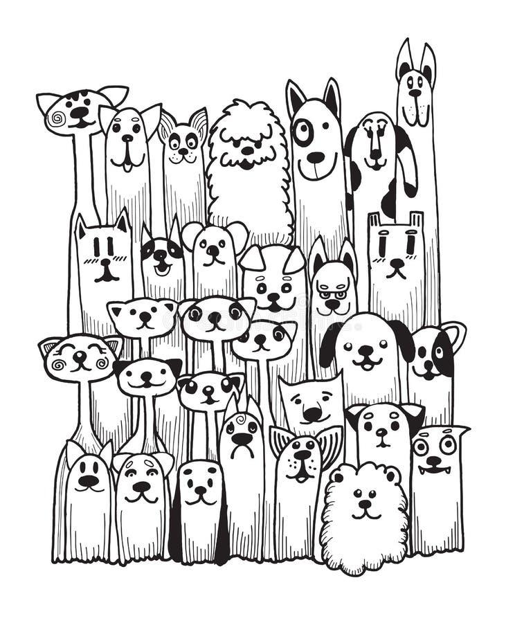 Cani divertenti di scarabocchio disegnato a mano messi illustrazione vettoriale